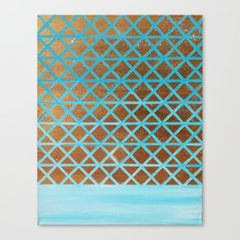 Turquoise, Triangles Gold Canvas Print