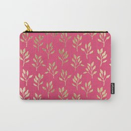 Elegant faux gold neon pink modern floral illustration Carry-All Pouch