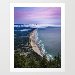 A Crescent Shaped Beach From High Atop Neahkahnie Mountain in Oswald West State Park, Oregon Art Print