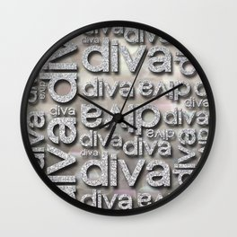 Diva Silver Glitter Repeated Typography Wall Clock