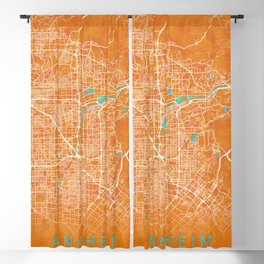 Anaheim, CA, USA, Gold, Blue, City, Map Blackout Curtain