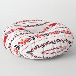 Ethno Ukrainian Pattern - Grape Guelder rose Oak - Symbol Floor Pillow