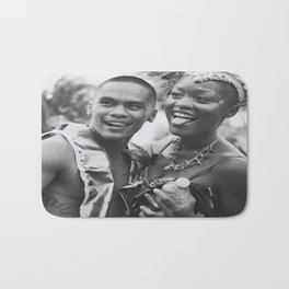Caribana Festival Parade Costume revellers Black and white photo  Bath Mat