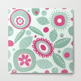 Abstract Flower Pattern Hot Pink Mint Green Floral Circles Metal Print