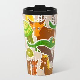 collection Funny cartoon Animals seamless pattern on beige background. Vector Travel Mug