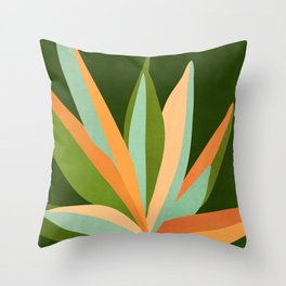 Colorful Agave / Painted Cactus Illustration Throw Pillow