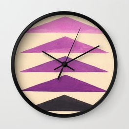 Colorful Purple Geometric Triangle Pattern With Black Accent Wall Clock