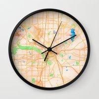 dallas Wall Clocks featuring Dallas, Texas by Emily Day