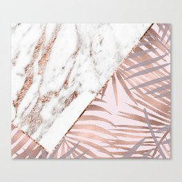Rose gold marble & tropical ferns Canvas Print