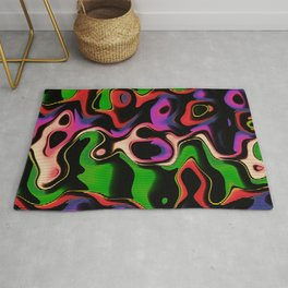 Abstract Psychedelic Fluorescent Graffiti Rug
