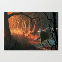 red riding hood Canvas Prints featuring Little red riding hood by Nicolas Villeminot