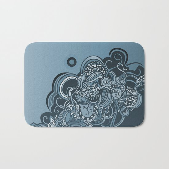 Detailed diagonal tangle, blue Bath Mat