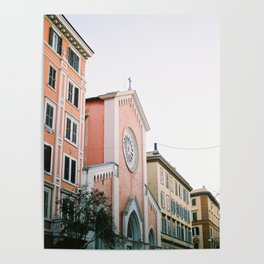 Pastel colored street | Travel photography print Rome, Italy | Pastel colored wall art Poster