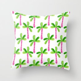 Watercolor Palm Trees in Pink Throw Pillow