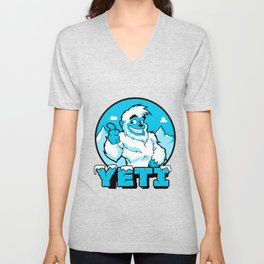 Smiling cartoon yeti Unisex V-Neck