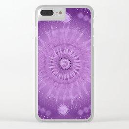 """Purple & Mallow Vault Mandala"" (Silver stars) Clear iPhone Case"