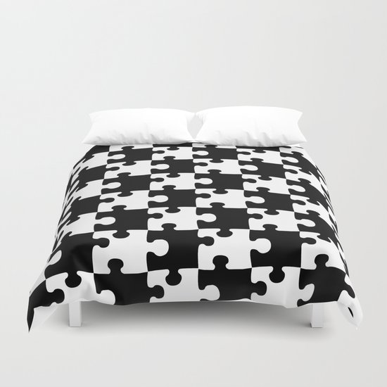 Checkerboard Puzzle Pieces Duvet Cover