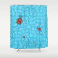 ladybug Shower Curtains featuring Ladybug by JoonMoon