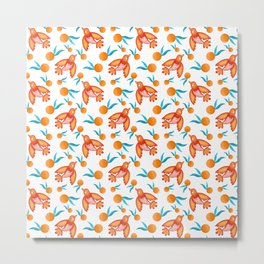 Little swallows birds with spread wings, sunny bright oranges with green leaves retro pattern Metal Print