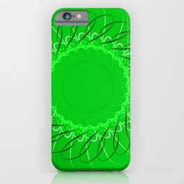Spirographs green on a green background. iPhone Case