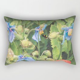 Bee with Blue Poppies Rectangular Pillow