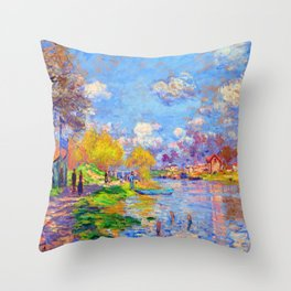 Claude Monet Spring on the Seine Throw Pillow