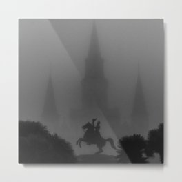 New Orleans, Jackson Square in fog, French Quarter black and white photograph / black and white photography Metal Print