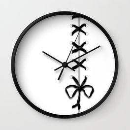 Laced Black Ribbon on White Wall Clock