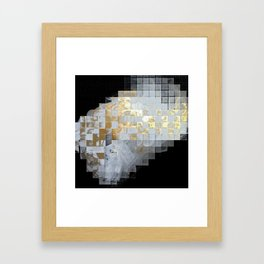 Squares in Gold and Silver Framed Art Print