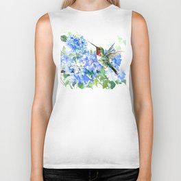 Hydrangea Flowers and Ruby Throat Hummingbird Biker Tank
