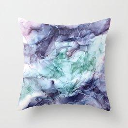 Growth- Abstract Botanical Fluid Art Painting Throw Pillow
