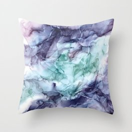 Growth- Abstract Botanical Fluid Art Painting Throw Pillow