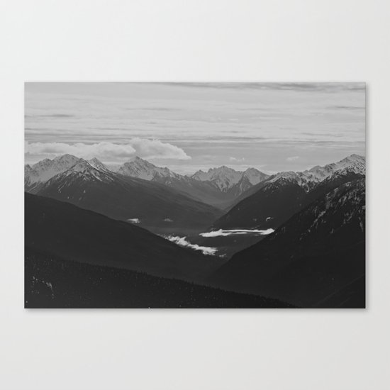 Mountain Landscape Black and White Canvas Print