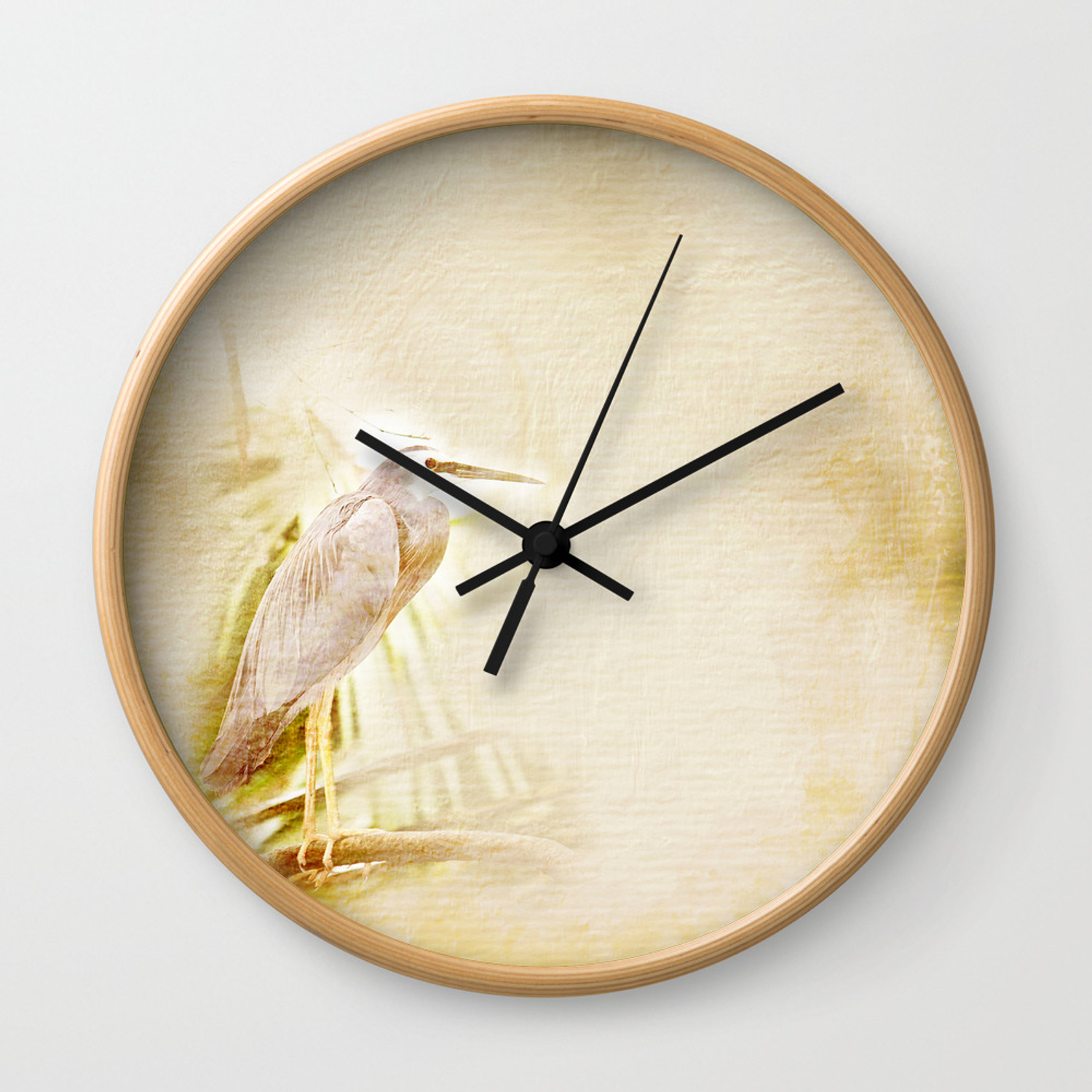 Antique Style Blue Heron On Textured Background Wall Clock