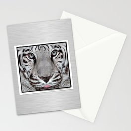 White Tiger with a little tougue Stationery Cards