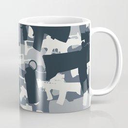 Military Camouflage Neck Gator Gray Camo Weapons Coffee Mug