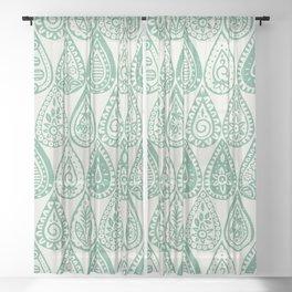 Indian raindrops green Sheer Curtain