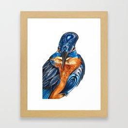 Kingfisher Watercolor Framed Art Print