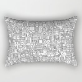 gingerbread town black white Rectangular Pillow