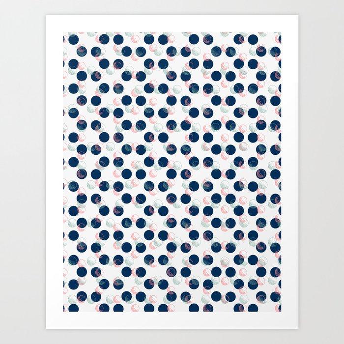Blue Polka Dots And Scribbles Art Print
