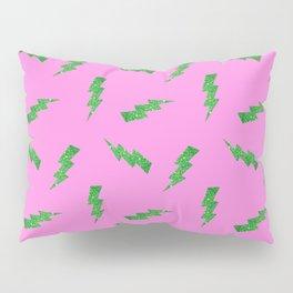 Green Glitter Lightning Bolts in Pink Pillow Sham