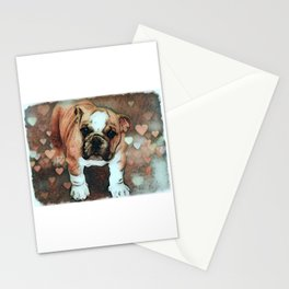 English Bulldog Puppy with Hearts Stationery Cards