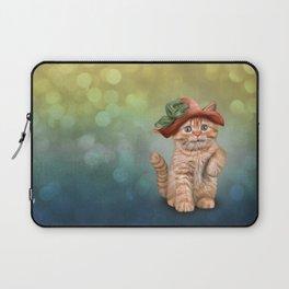 Little funny striped kitten in a big hat Laptop Sleeve