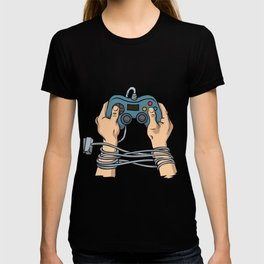 Hands tied by wire T-shirt