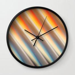 Orange + Blue Affine Tile Stripes Wall Clock