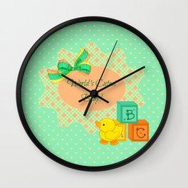 Peach, Green & Yellow Baby Blocks & Rubber Duck Wall Clock