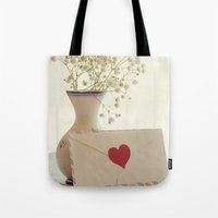 letter Tote Bags featuring Love Letter by Colleen Farrell