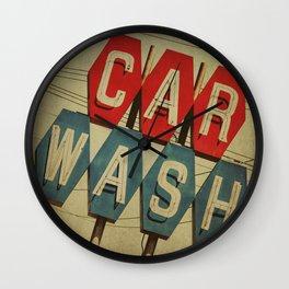 Retro Car Wash Sign Wall Clock