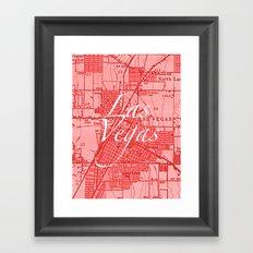 Vintage Las Vegas Red Framed Art Print