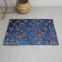 Royal blue and gold fall leaf pattern, modern,chic,Royal blue, gold ,fall leaf, pattern, modern,chic Rug